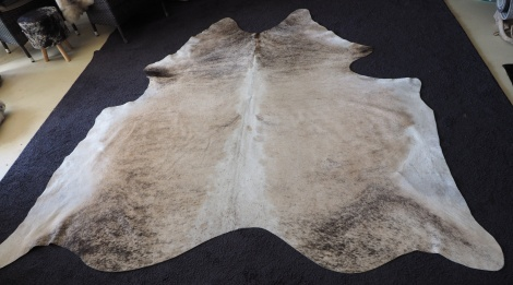 LEX/39: A sandstone based brushed with charcoal - A Beautiful soft & subtle cowhide rug