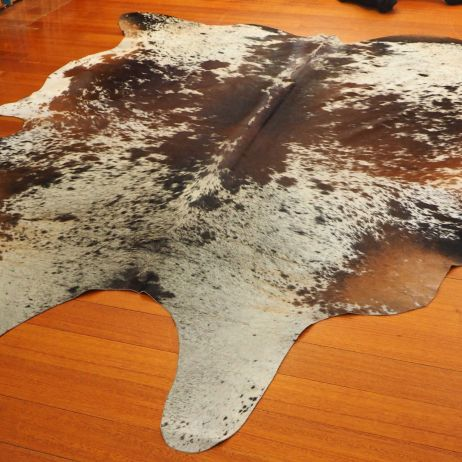 SPB/10: Beautiful Symmetrical Butterfly Markings in Rich Brown over White - A Beautiful Cowhide Rug