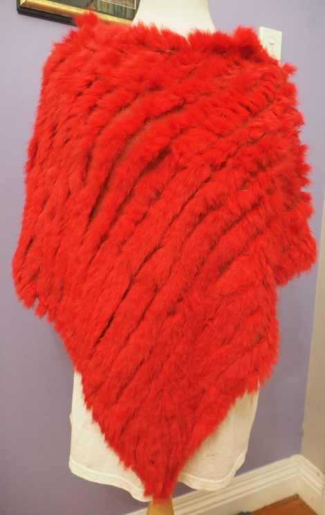 A BEAUTIFUL RED RABBIT PONCHO