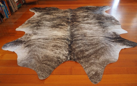 Grey/68: An Amazing Dark Charcoal Wave washes over this big & totally beautiful cowhide rug