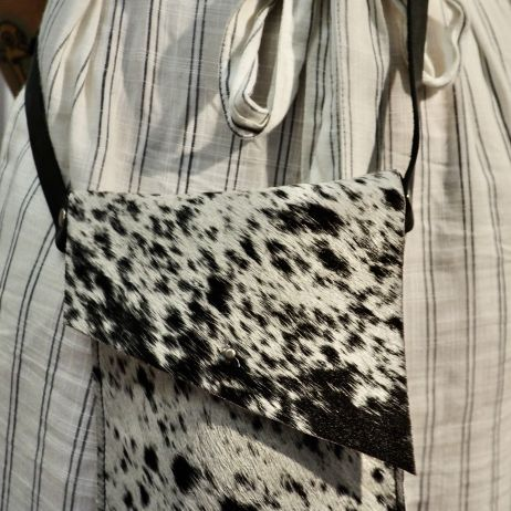A Beautiful Black and White Cowhide Handbag - Great for all those little things