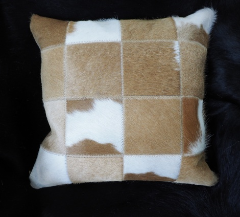 bc4:A Traditional Jersey Caramel & White Cowhide Cushion Cover