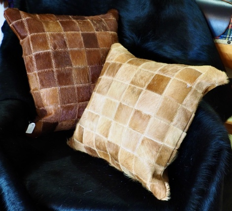 A LOVELY PAIR OF COWHIDE CUSHION COVERS - AVAILABLE INDIVIDUALLY