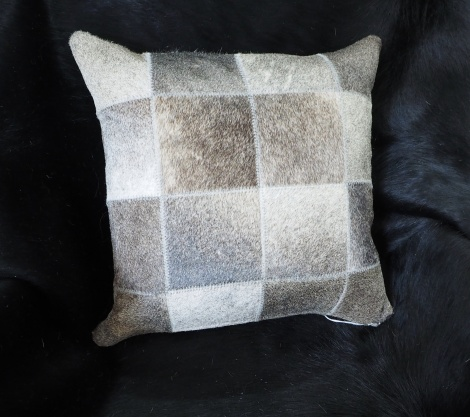 Beautiful Deep Steel Grey 40cm Square Cowhide Cushion Cover