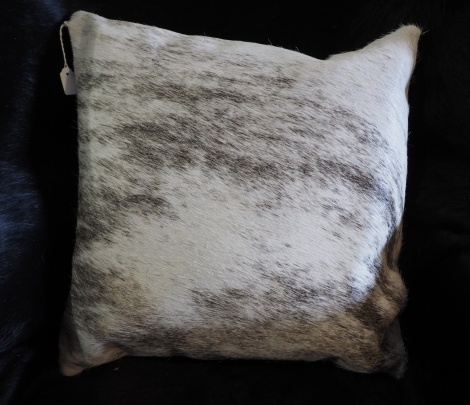 EX/1:A Beautiful Light Exotic Cowhide Cushion Cover - A Beautiful Grey Wave over a light Cream Base