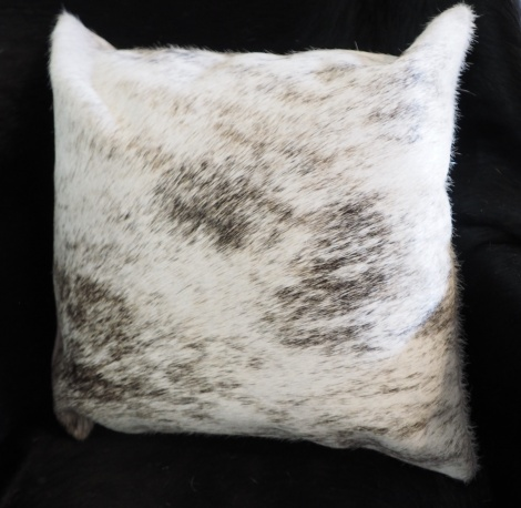 EX7: A Lovely Light Grey Wave over a pale base - A Beautiful Cowhide Cushion Cover