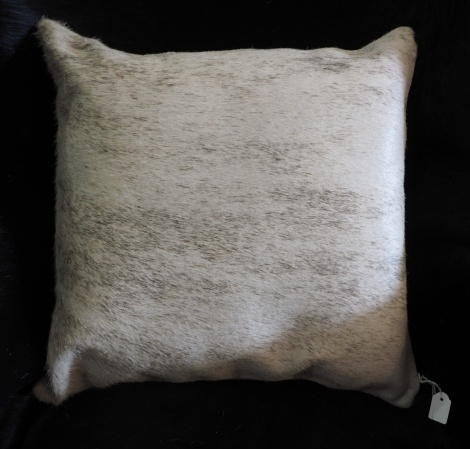 EX/9:A Lovely Soft Grey Wave over a Pale Base - A Beautiful Cowhide Cushion Cover