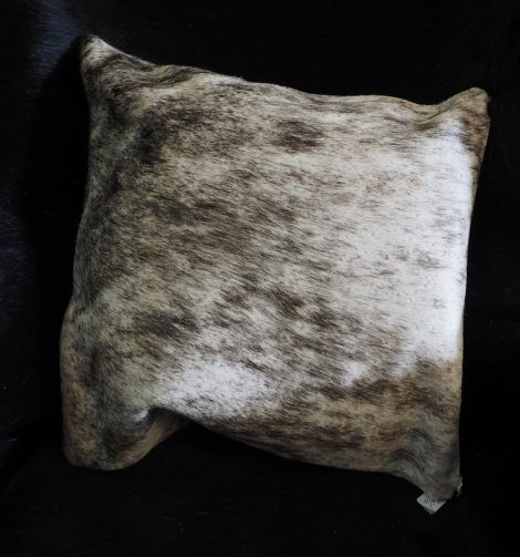 EX/10:A Beautiful Grey Washes over this Premium Leather Cowhide Cushion Cover