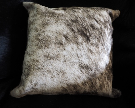 EX/11:A Beautiful Grey Washes over this Premium Leather Cowhide Cushion Cover