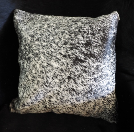 SPBW/1: A LOVELY SPECKLED BLACK & WHITE COWHIDE CUSHION