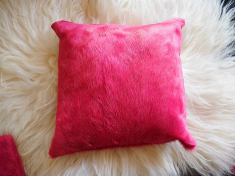 A GORGEOUS PINK COWHIDE CUSHION COVER - THREE AVAILABLE
