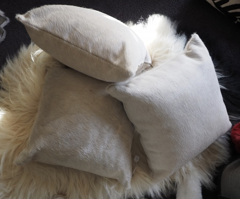 A GORGEOUS TRIO OF CACHIM COWHIDE COVERS - WONDERFUL CHAMPAGNE TONES - 45CM - AVAILABLE SEPARATELY