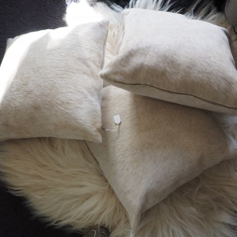 a Beautiful Trio of Soft Jersey Cowhide Cushions - A Timeless Accessory for your home