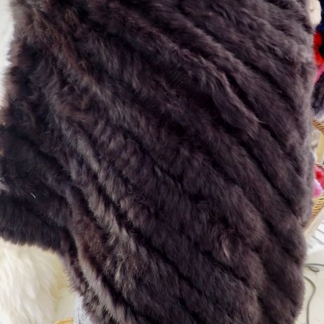 A Gorgeous Soft Cocoa Brown Rabbit Fur Poncho  Easy Warmth & Style