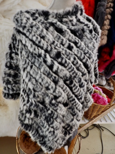 A Gorgeous Frosted Black Rabbit Fur Poncho - Easy Style & Warmth
