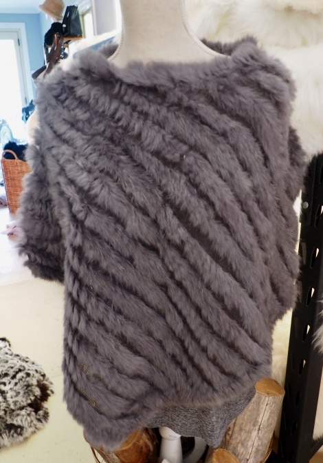 A Gorgeous Grey Rabbit Fur Poncho From Day to Night With Easy Style