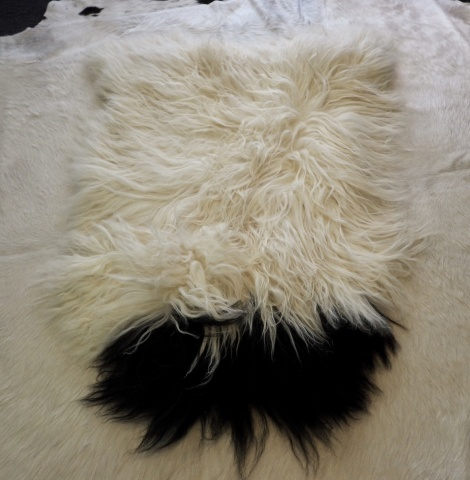 I 34: abeautiful black topped Long Wool Icelandic Sheepskin Rug. - roaming free since 874AD