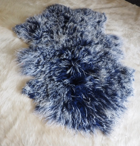 A Wonderful Deep Blue genuine Mongolian Lambswool Rug