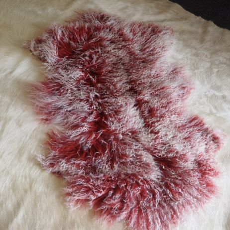 A Gorgeous Rose Red Frosted Mongolian Lambswool Rug -