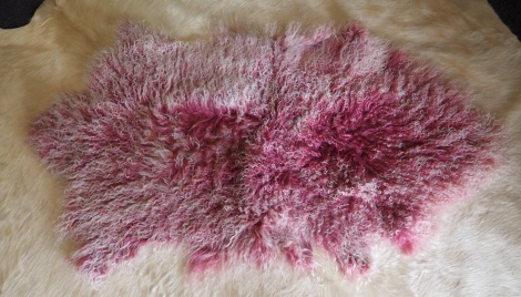 A Gorgeous Pink Frosted Genuine Mongolian Lambswool Rug
