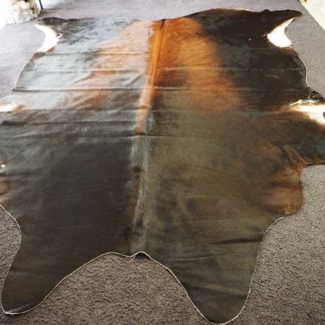 ASs40/: a Huge and Magnificent Black and Tan Cowhide Rug