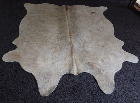 XS/41: A LOVELY SOFT FAWN LIGHTLY TIPPED WITH GREY  - A PERFECT SMALLER SIZED COWHIDE RUG