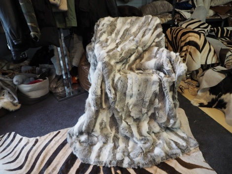A Beautiful 1800mm x 1600mm Grey and White Rabbit Fur Throw