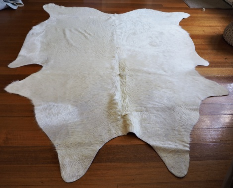 White/8: A Rare Pure White Upholstery Grade Cowhide RUg