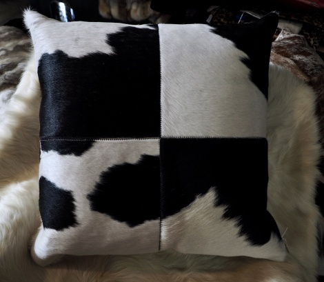 BWP/1: A Beautiful 4 Square 50cm Black & White Cowhide Cushion