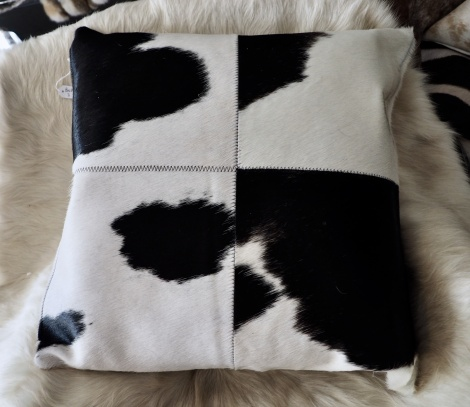 BWP/3: A Beautiful 4 Patch 50cm Square Black & White Cowhide Cushion