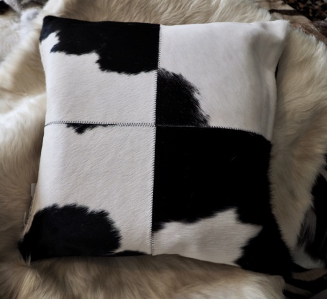 BWP/4: A Beautiful 4 patch 50cm Square Black & White Cowhide Cushion