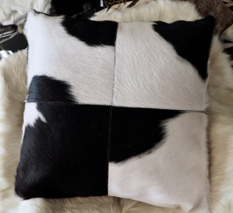 BWP/5: Black & White - Classic Style - A BEautiful 50cm Square cowhide cushion