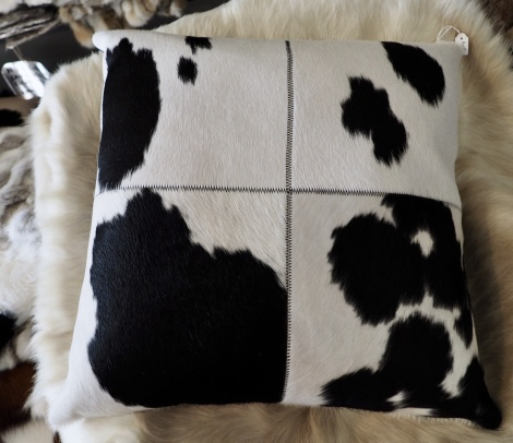 BWP/7: Black and White and Beautiful - A 50cm patch Cowhide Cushion