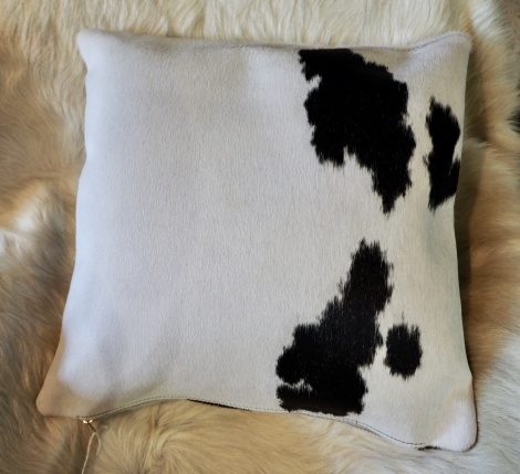 BW40/5: A Lovely Black on White 40cm Cowhide Cushion