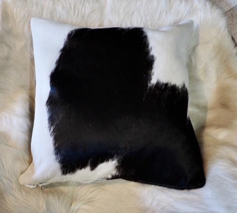 BW40/12: A Beautiful Black and White 40cm Cowhide Cushion -