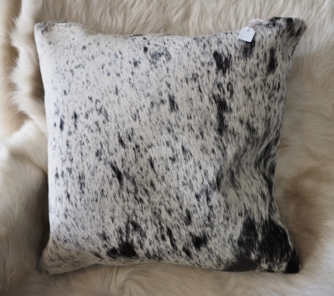SPN40/2: A Lovely Speckled Black and White 40cm Sq Cowhide Cushion