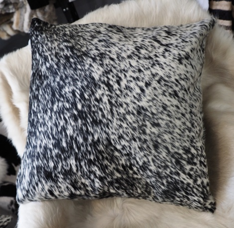 SPN50/8: A Lovely Speckled 50cm sq Black & White Cowhide Cushion