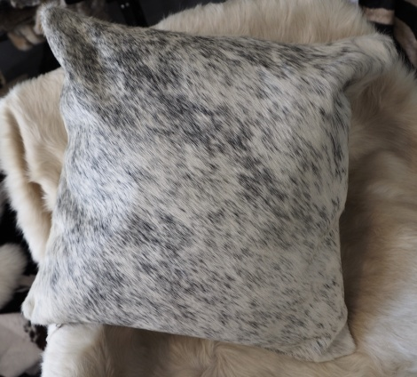 SPN50/9: A Lovely Black on White Speckled 50cm Cowhide Cushion