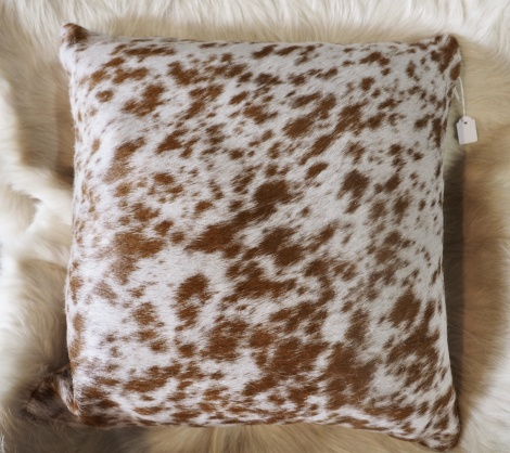 SPB40/3: A Lovely Speckling of Brown on White -A 40cm Sq cowhide cushion