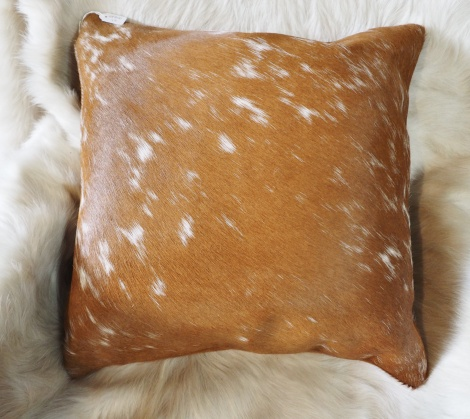 SPB40/13: A Beautiful Brown and White Lightly Speckled Cowhide Cushion