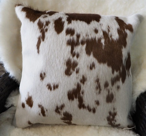 BRW40/5: Beautiful Markings - A Lovely Soft Brown on White 40cm Cowhide Cushion