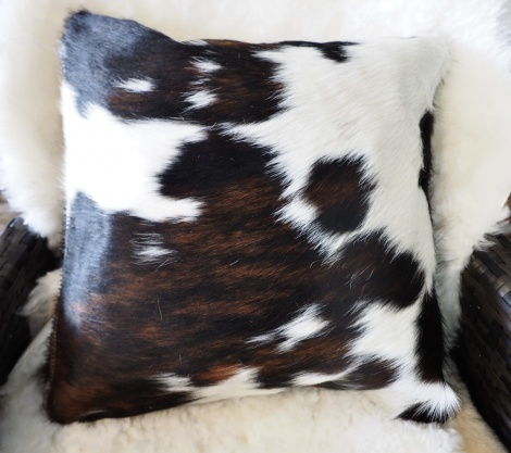Extri40/5: Beautiful markings   Lovely and Soft - A 40cm Sq Tri Coloured Cowhide Cushion