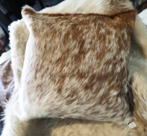 SPB50/2: A Beautiful Brown and White 50cm Square Cowhide Cushion