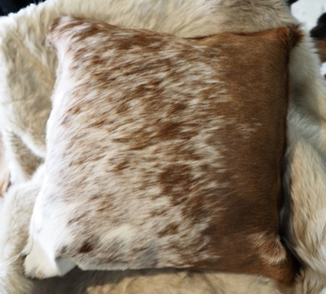 SPB50/3: A Beautiful Speckled Brown and White 50cm Square Cowhide Cushion
