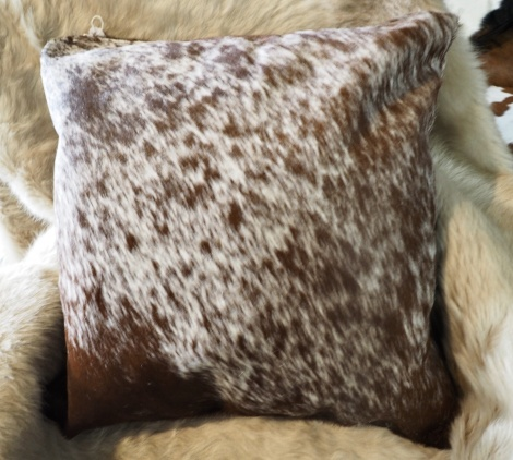 SPB50/4: A Beautiful Speckled Brown and White 50cm Sq Cowhide Cushion