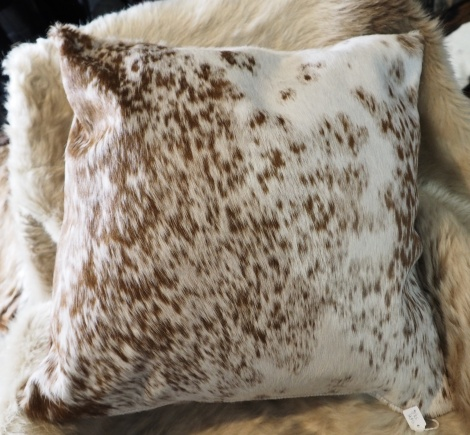 SPB50/6: A Gorgeous Speckled 50cm Sq Brown and White Cowhide Cushion