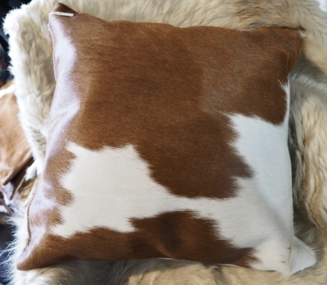BRW50/4: A Naturally Beautiful 50cm Square Brown and White Cowhide Cushion