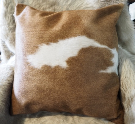 BRW50/6: Simply Beautiful - A 50cm Square brown and white Cowhide Cushion