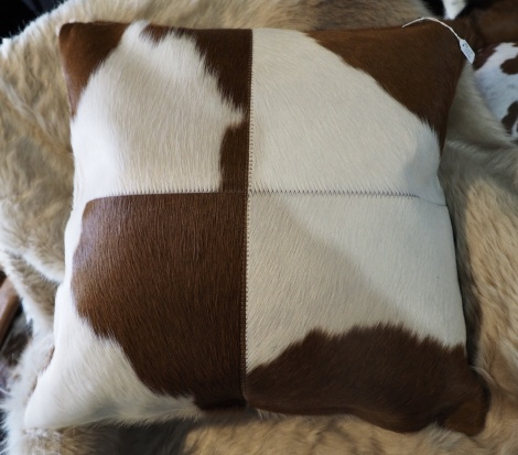 BRWP50/2: A Lovely Bold Brown and White 50cm Sq Cowhide Cushion