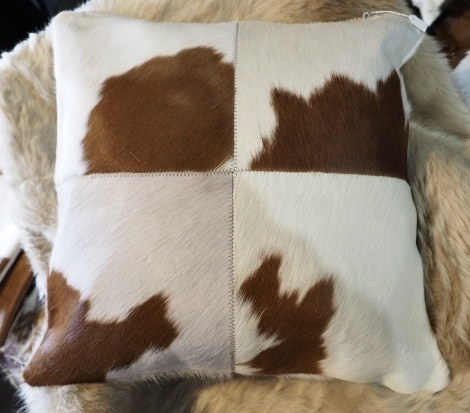 BRWP50/3: A Lovely Brown and White 50cm Sq Cowhide Cushion